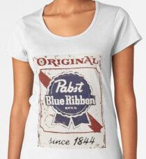 Pabst Blue Ribbon Beer PBR Distressed Logo Women's Premium T-Shirt