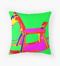 Rocking Horse in Green Throw Pillow