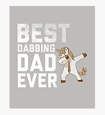 Best Dabbing Dad Ever Tee Dab Unicorn Hip Hop Gift T-Shirt For Men, Women, and Kids Photographic Print