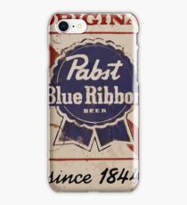Pabst Blue Ribbon Distressed Logo iPhone Case/Skin