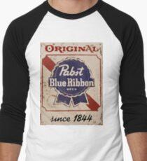 Pabst Blue Ribbon Distressed Logo Men's Baseball ¾ T-Shirt