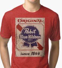 Pabst Blue Ribbon Distressed Logo Tri-blend T-Shirt