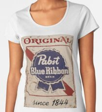 Pabst Blue Ribbon Distressed Logo Women's Premium T-Shirt