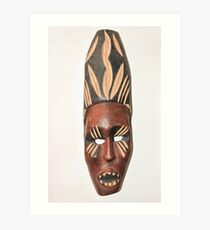 Wooden African ceremonial mask on white background  Art Print