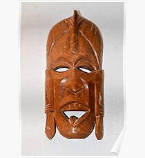 Wooden African ceremonial mask on white background  Poster