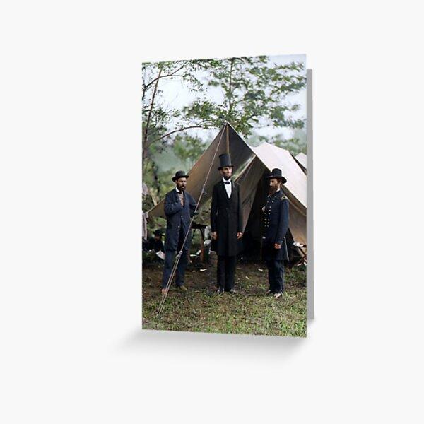 Battle of Antietam, Md. Allan Pinkerton, President Lincoln, and Maj. Gen. John A. McClernand; 1862. Greeting Card
