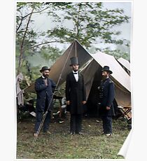 Battle of Antietam, Md. Allan Pinkerton, President Lincoln, and Maj. Gen. John A. McClernand; 1862. Poster
