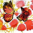 Watercoloured Inks - Butterflies 1 by Sally Barnett