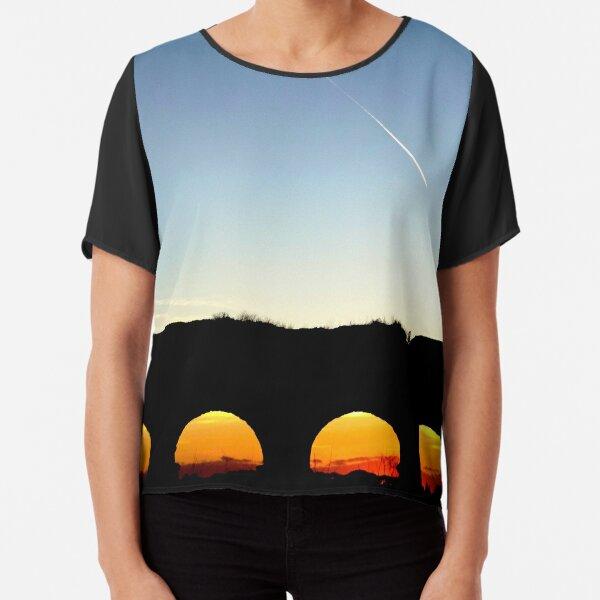 PHOTOGRAPHY LANDSCAPE ROMAN AQUEDUCT AT SUNSET Chiffon Top