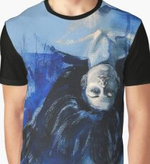 Woman in blue Graphic T-Shirt