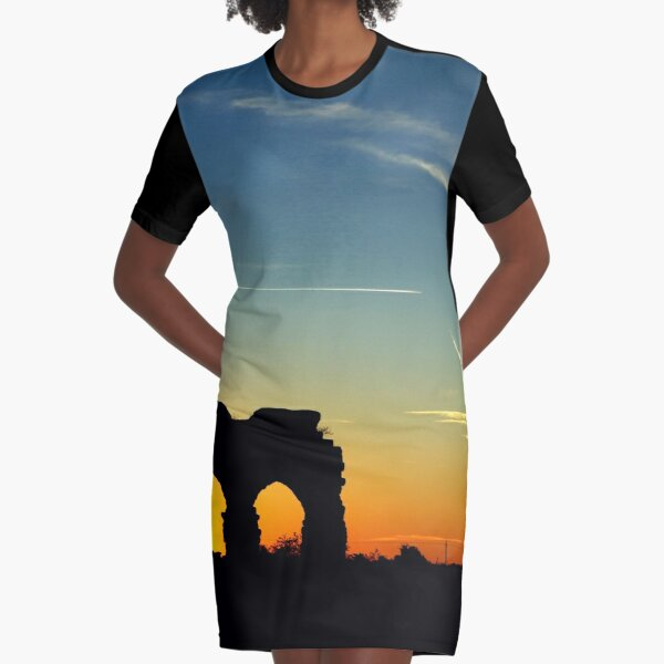 ROME, ITALY, PHOTOGRAPHY SUNSET RUIN AQUEDUCT Graphic T-Shirt Dress
