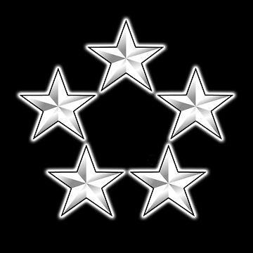 FIVE SILVER STARS, USAF, General of the Air Force, General of the Army, Fleet Admiral, on BLACK by TOMSREDBUBBLE