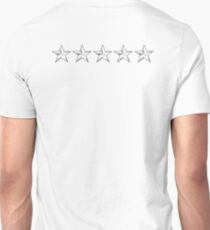 FIVE SILVER STARS in LINE, 5 STAR,  USAF, General of the Air Force, General of the Army, Fleet Admiral, on WHITE T-Shirt