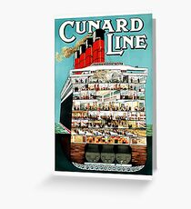Oversea cruise line, cruiser, ship, boat, vintage travel poster Greeting Card