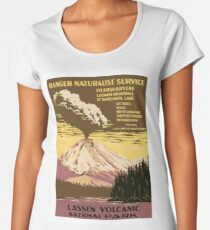 Lassen Volcanic, volcano eruption, national park, vintage travel poster Women's Premium T-Shirt