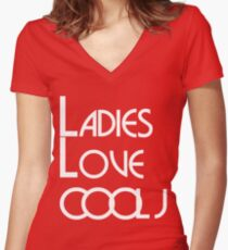 LADIES LOVE COOL J Women's Fitted V-Neck T-Shirt