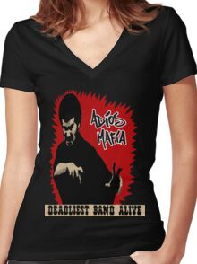 Adios Mafia- Deadliest Band Alive! Women's Fitted V-Neck T-Shirt