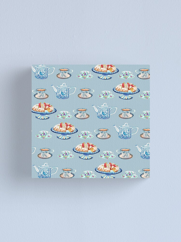 Alternate view of Jane Austen Tea and cake lovers in blue Canvas Print