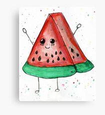 Cute funny watercolor watermelon Canvas Print