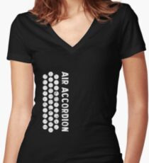 Air Cool Accordion Design. Retro Music Classical Instrument Distressed Graphic Women's Fitted V-Neck T-Shirt