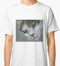 Tara - White and Tabby Cat Painting Classic T-Shirt