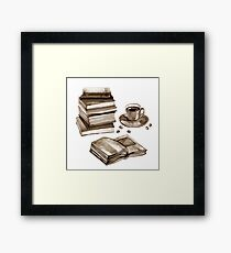 Watercolor old books and cup of coffee. Isolated on white Framed Print