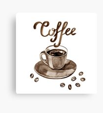 Hand painted watercolor illustration with cup of espresso and coffee beans. Logo Canvas Print