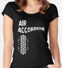 Air Cool Accordion Design. Retro Music Classical Instrument Distressed Graphic Women's Fitted Scoop T-Shirt