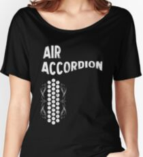 Air Cool Accordion Design. Retro Music Classical Instrument Distressed Graphic Women's Relaxed Fit T-Shirt