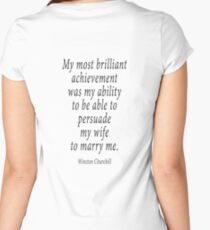 ROMANCE, MARRIAGE, Sir Winston Churchill, ROMANCE, ROMANTIC, Marry, Married, Achievement,  Women's Fitted Scoop T-Shirt
