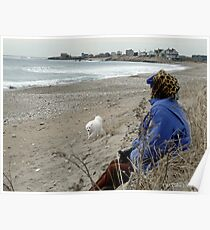 Martha Sits on the Beach with Sylvie  Poster