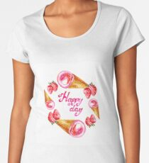 Watercolor round frame with waffle cones and strawberry isolated on white Women's Premium T-Shirt
