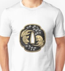 Japanese Katana Tsuba - Twin Gold Fish on Black Steel over White Leather T-Shirt