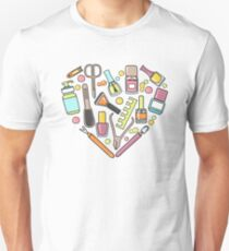 Pattern of manicure and pedicure doodle equipment. Nail art T-Shirt