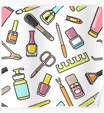 Pattern of manicure and pedicure doodle equipment. Nail art Poster