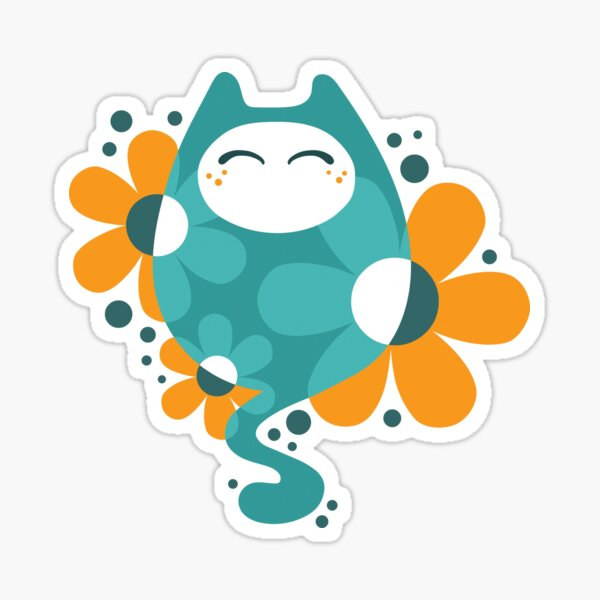 Delighted flowercat Sticker