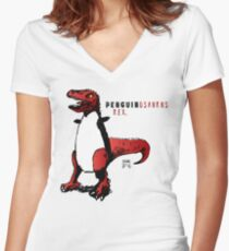 PENGUINOSAURUS REX™ Women's Fitted V-Neck T-Shirt