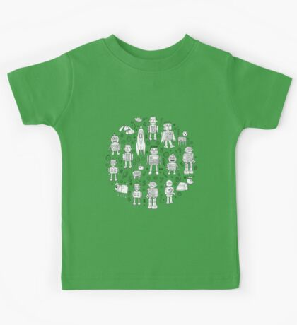 Robot Pattern - green and white - fun pattern by Cecca Designs Kids Clothes