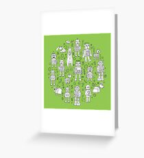 Robot Pattern - green and white - fun pattern by Cecca Designs Greeting Card