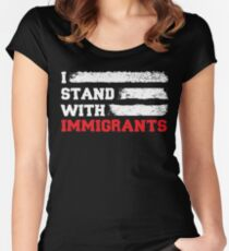 I stand with immigrants T Shirt USA Flag country Shirts Women's Fitted Scoop T-Shirt