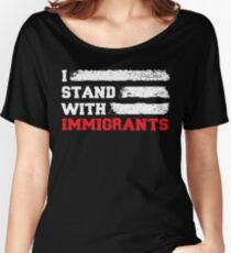 I stand with immigrants T Shirt USA Flag country Shirts Women's Relaxed Fit T-Shirt