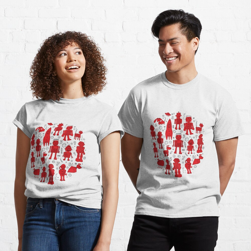 Robot Pattern - Red and White - fun pattern by Cecca Designs Classic T-Shirt
