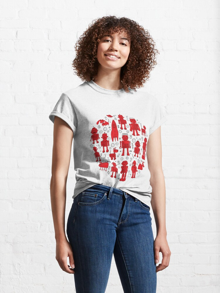 Alternate view of Robot Pattern - Red and White - fun pattern by Cecca Designs Classic T-Shirt