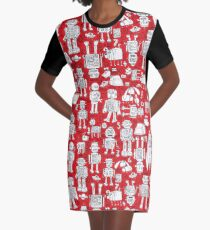 Robot Pattern - Red and White - fun pattern by Cecca Designs Graphic T-Shirt Dress