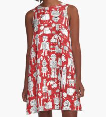 Robot Pattern - Red and White - fun pattern by Cecca Designs A-Line Dress