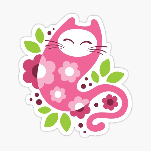 Cherry blossom cat Sticker
