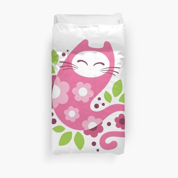 Cherry blossom cat Duvet Cover