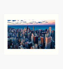 Chicago By Lake Michigan (Sundown) Art Print