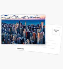 Chicago am Lake Michigan (Sonnenuntergang) Postkarten