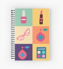 Cosmetics Set. Icons Set. Cosmetology. Fashion and Beauty. Perfume, Polish, Pomade. Female Beauty. Vector illustration. Flat Style Spiral Notebook